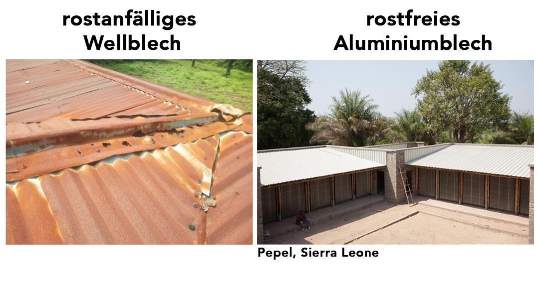 Vergleich eines alten, durchrosteten Dachs in Sierra Leone mit dem neuen Dach unserer Schule in Pepel.